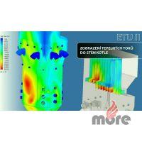 Ukázka z animace CFD prací, tepelné toky do stěn komory.