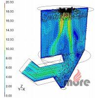 Vektory rychlostí v řezu původním absorbérem, vizualizace vírů u stěny